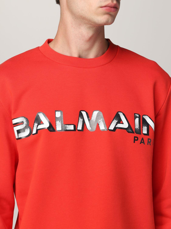 Sweatshirt Balmain: Balmain cotton sweatshirt with logo red 5