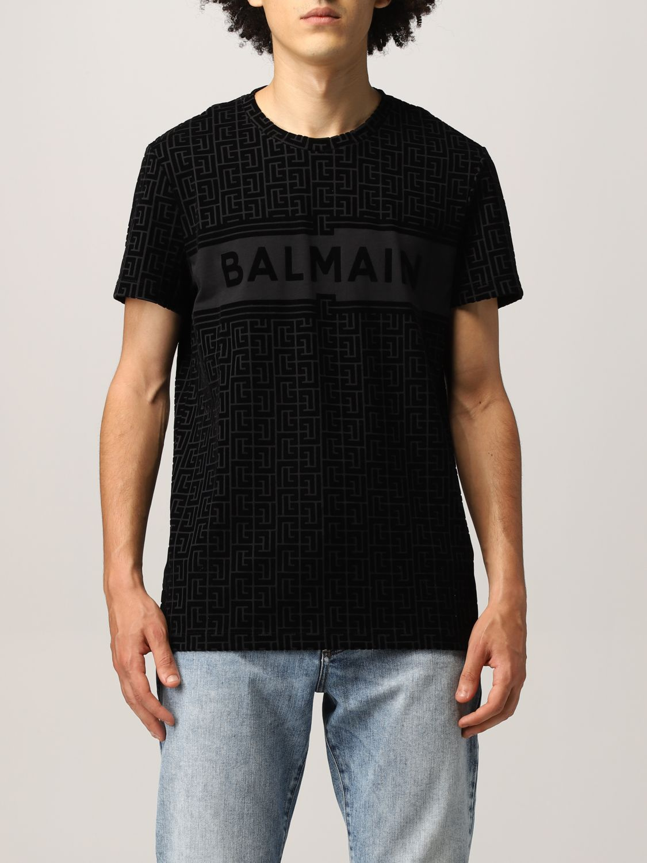T-shirt Balmain: T-shirt Balmain in cotone con monogramma nero 1