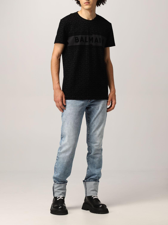 T-shirt Balmain: T-shirt Balmain in cotone con monogramma nero 2
