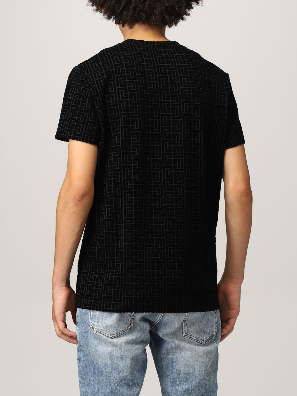 T-shirt Balmain: T-shirt Balmain in cotone con monogramma nero 3