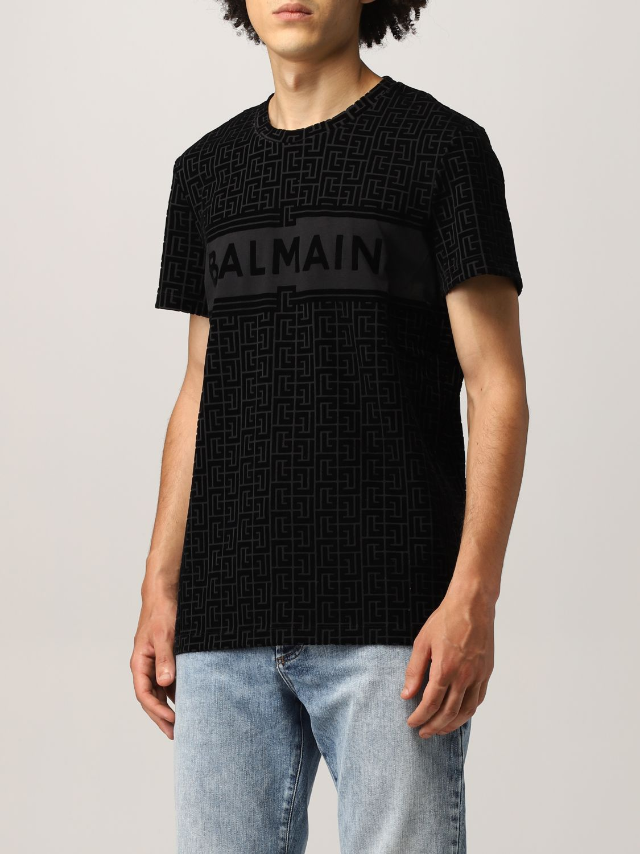 T-shirt Balmain: T-shirt Balmain in cotone con monogramma nero 4