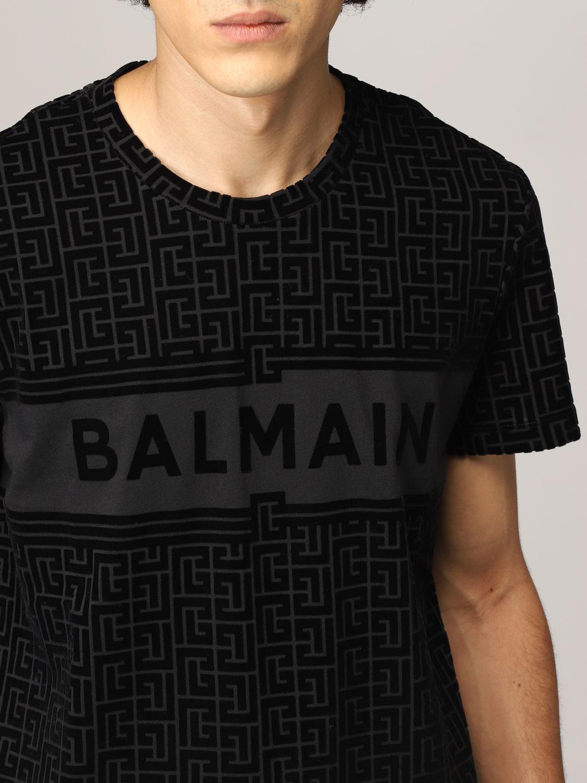 T-shirt Balmain: T-shirt Balmain in cotone con monogramma nero 5