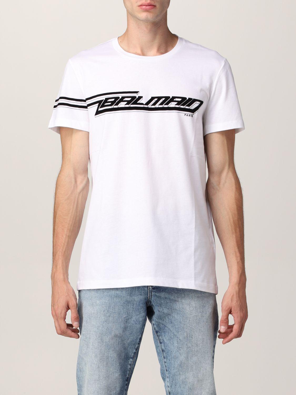T-shirt Balmain: T-shirt Balmain in cotone con logo in floccato bianco 1
