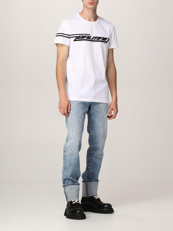 T-shirt Balmain: T-shirt Balmain in cotone con logo in floccato bianco 2