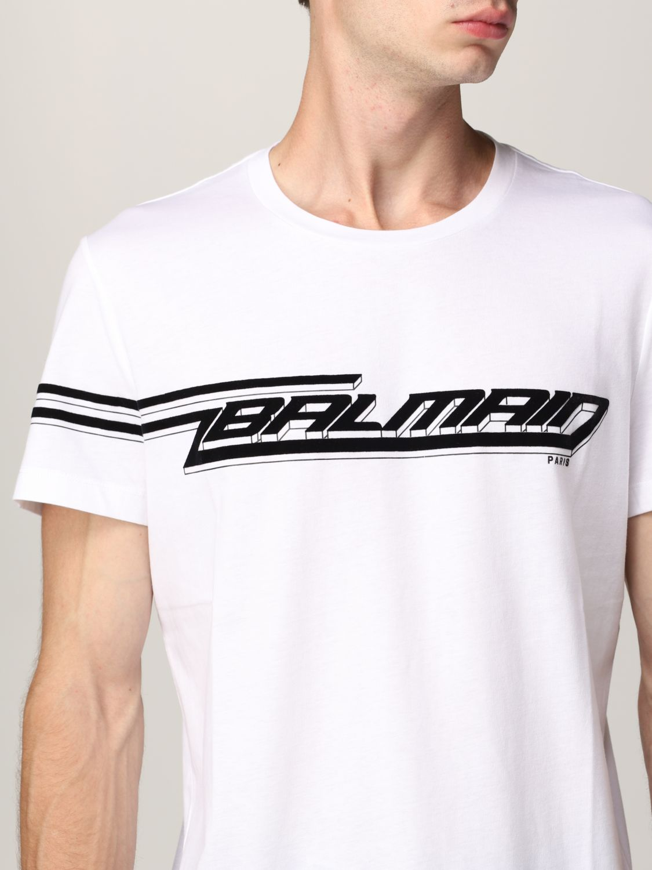 T-shirt Balmain: T-shirt Balmain in cotone con logo in floccato bianco 5