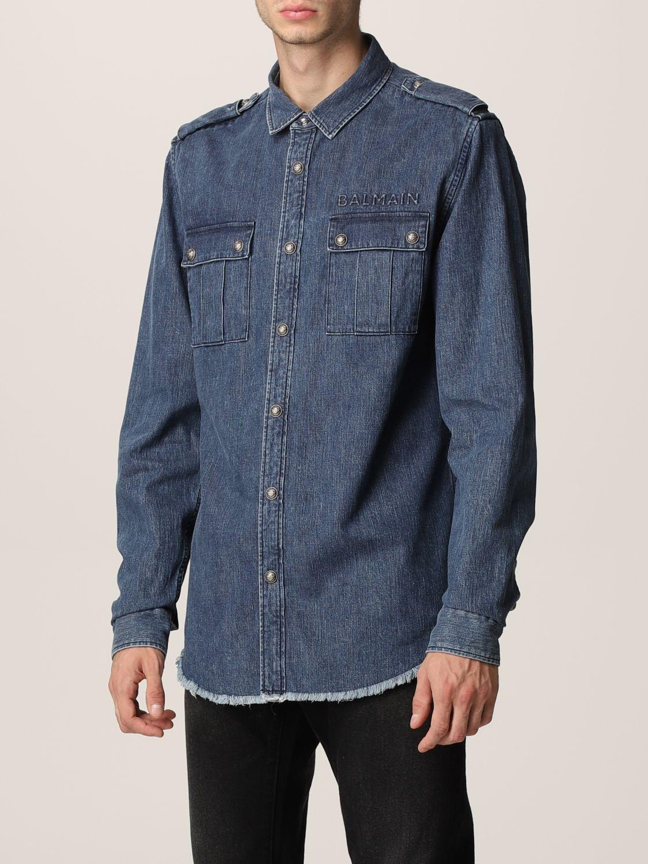 Shirt Balmain: Shirt men Balmain denim 4