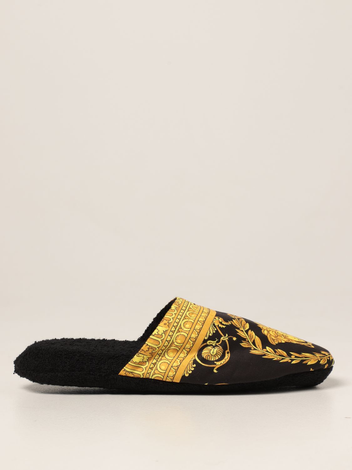 Flat shoes Versace Home: Versace Home slipper in cotton with baroque print black 1
