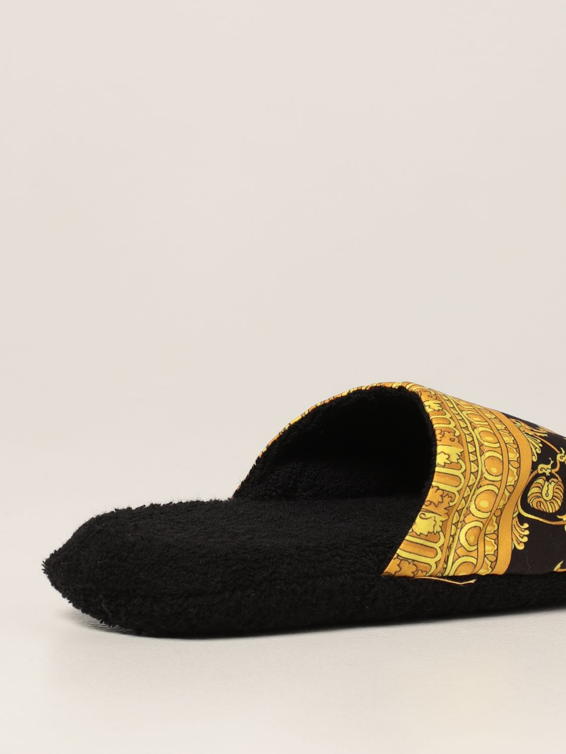 Flat shoes Versace Home: Versace Home slipper in cotton with baroque print black 3