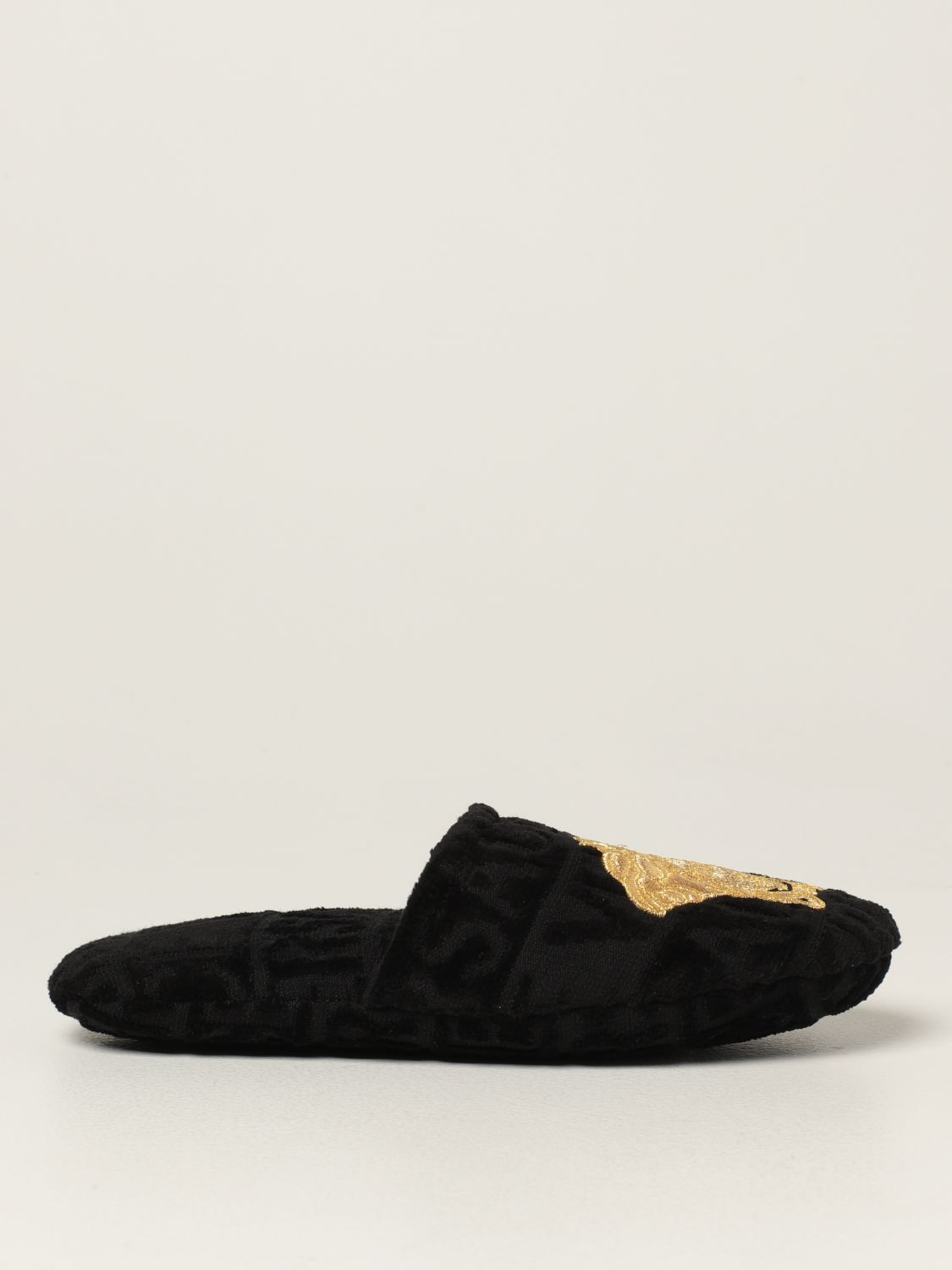 Flat shoes Versace Home: Versace Home cotton slippers with Medusa black 1