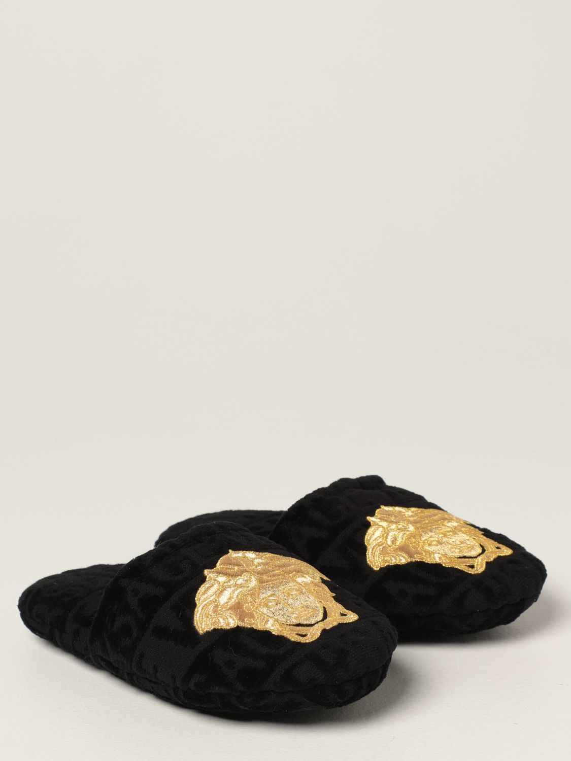 Flat shoes Versace Home: Versace Home cotton slippers with Medusa black 2