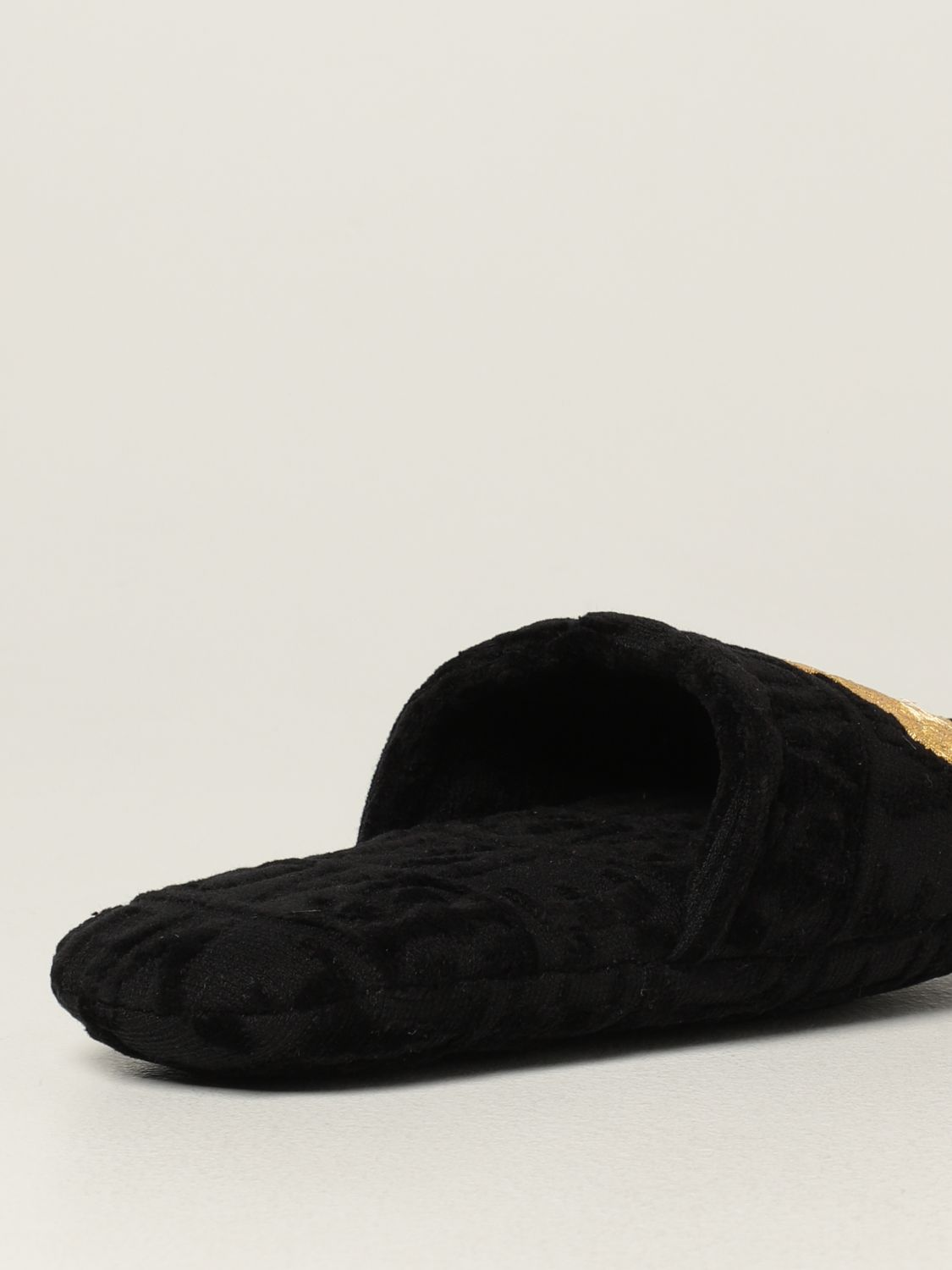 Flat shoes Versace Home: Versace Home cotton slippers with Medusa black 3