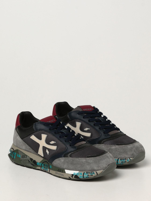 Sneakers Premiata: Sneakers ZacZac Premiata in pelle, camoscio e mesh blue 2