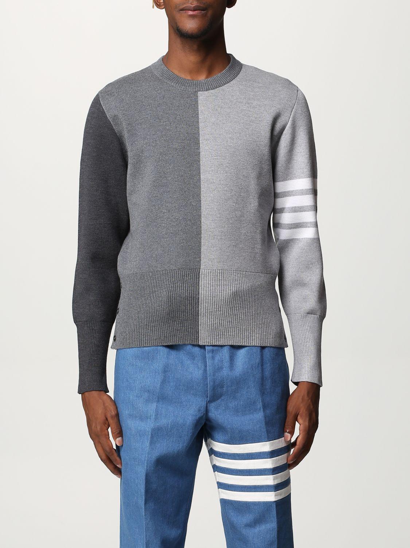Maglia Thom Browne: Girocollo lana bicolor con bande braccio grigio 1