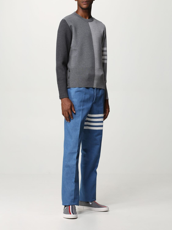 Maglia Thom Browne: Girocollo lana bicolor con bande braccio grigio 2