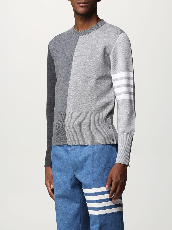 Maglia Thom Browne: Girocollo lana bicolor con bande braccio grigio 3