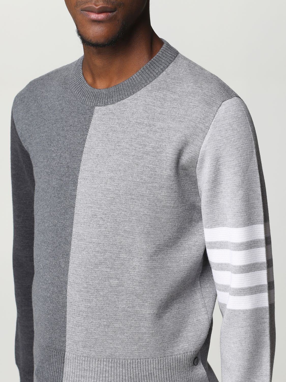 Maglia Thom Browne: Girocollo lana bicolor con bande braccio grigio 4