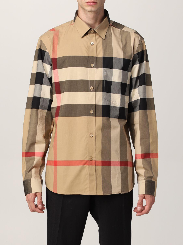 Camicia Burberry: Camicia Somerton Burberry in popeline di cotone stretch check beige 1