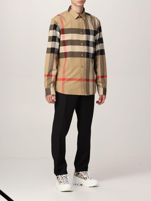 Camicia Burberry: Camicia Somerton Burberry in popeline di cotone stretch check beige 2