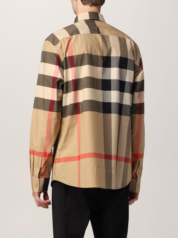 Camicia Burberry: Camicia Somerton Burberry in popeline di cotone stretch check beige 3