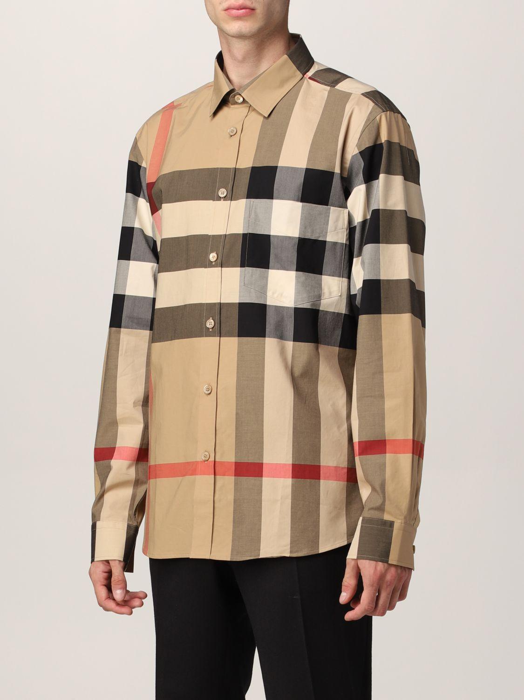 Camicia Burberry: Camicia Somerton Burberry in popeline di cotone stretch check beige 4