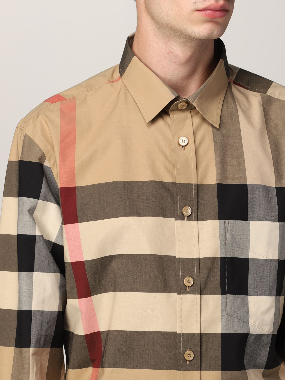 Camicia Burberry: Camicia Somerton Burberry in popeline di cotone stretch check beige 5