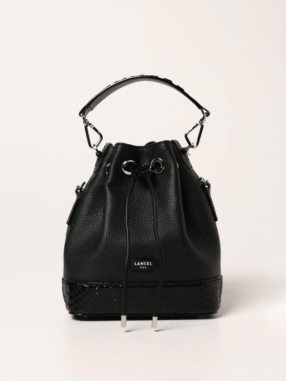 Lancel Bucket Bag In Hammered Leather In Black