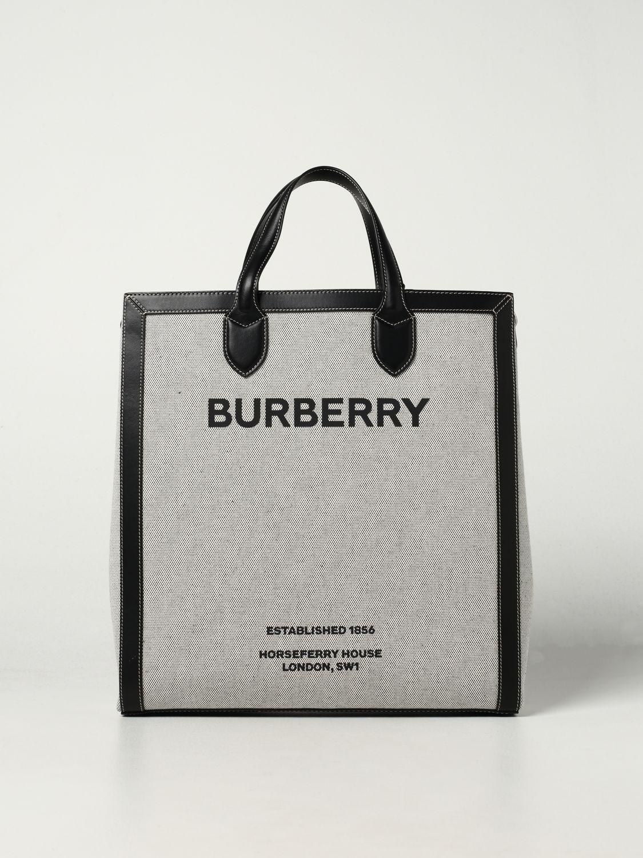 Borsa Burberry: Borsa Burberry in cotone con stampa Burberry Horseferry nero 1