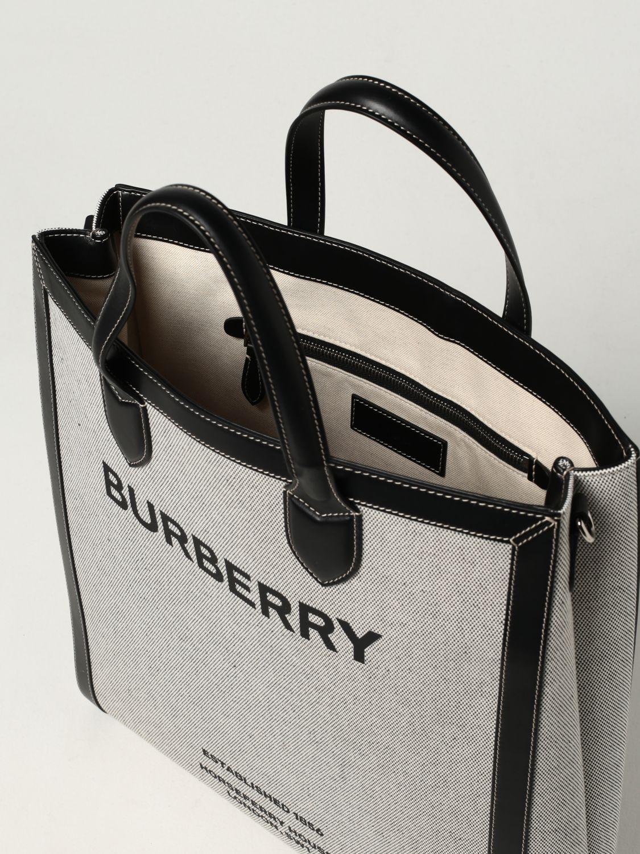 Borsa Burberry: Borsa Burberry in cotone con stampa Burberry Horseferry nero 4