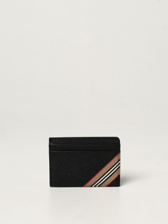 Portafoglio Burberry: Portacarte di credito Burberry in pelle martellata nero 1