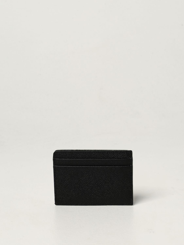 Portafoglio Burberry: Portacarte di credito Burberry in pelle martellata nero 2