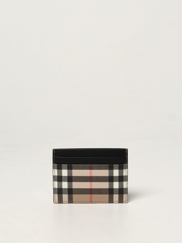 Portafoglio Burberry: Porta carte di credito Burberry in E-canvas e pelle beige 1