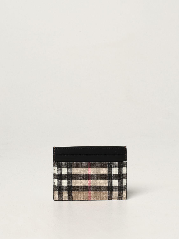 Portafoglio Burberry: Porta carte di credito Burberry in E-canvas e pelle beige 2