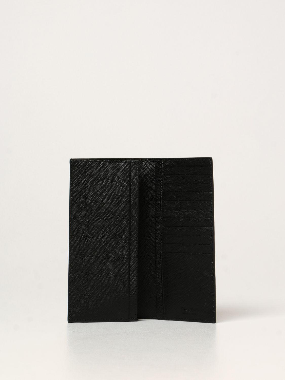 Portafoglio Prada: Portafoglio Prada in pelle saffiano nero 2