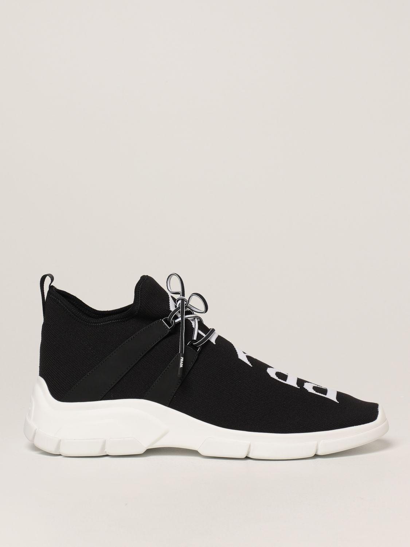 Sneakers Prada: Sneakers Prada in tessuto knit con logo nero 1