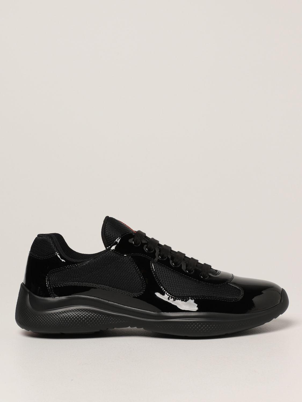 Sneakers Prada: Sneakers Prada in vernice e tessuto bike nero 1
