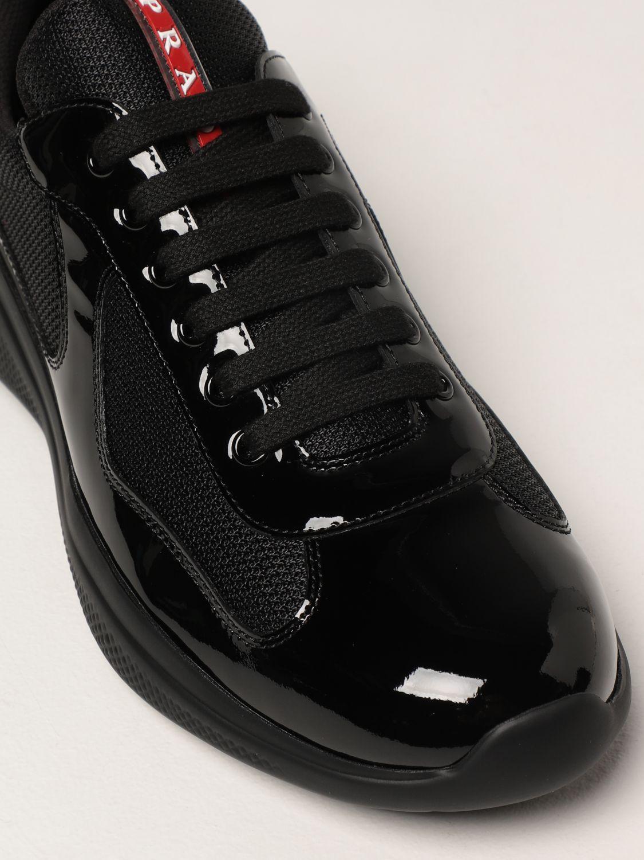 Sneakers Prada: Sneakers Prada in vernice e tessuto bike nero 4