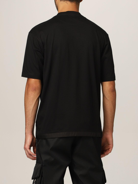 T-shirt Prada: T-shirt Prada in cotone e tasca in nylon con logo nero 3