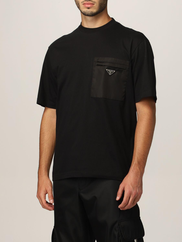 T-shirt Prada: T-shirt Prada in cotone e tasca in nylon con logo nero 4
