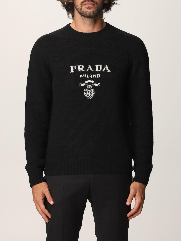 Maglia Prada: Maglia Prada in lana e cashmere con logo nero 1