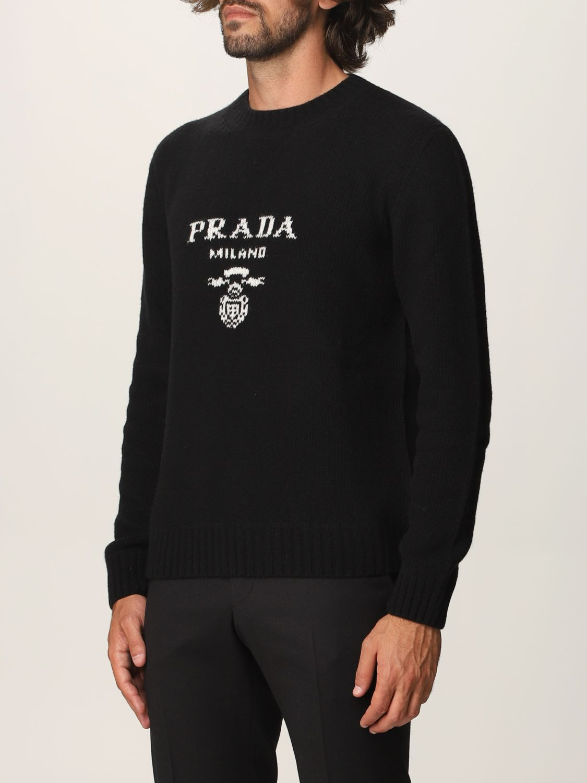 Maglia Prada: Maglia Prada in lana e cashmere con logo nero 3