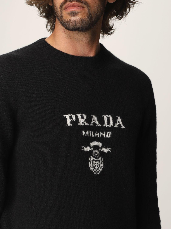 Maglia Prada: Maglia Prada in lana e cashmere con logo nero 4