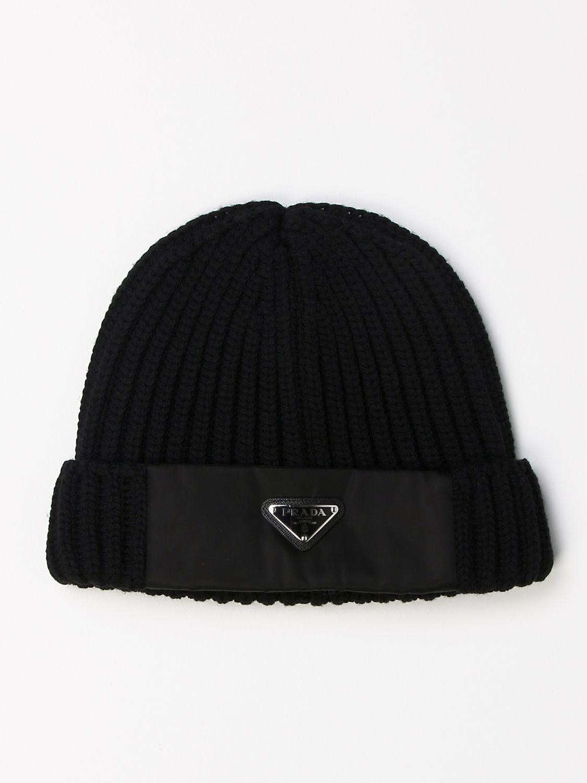 Cappello Prada: Cappello a berretto Prada di lana con logo triangolare nero 1