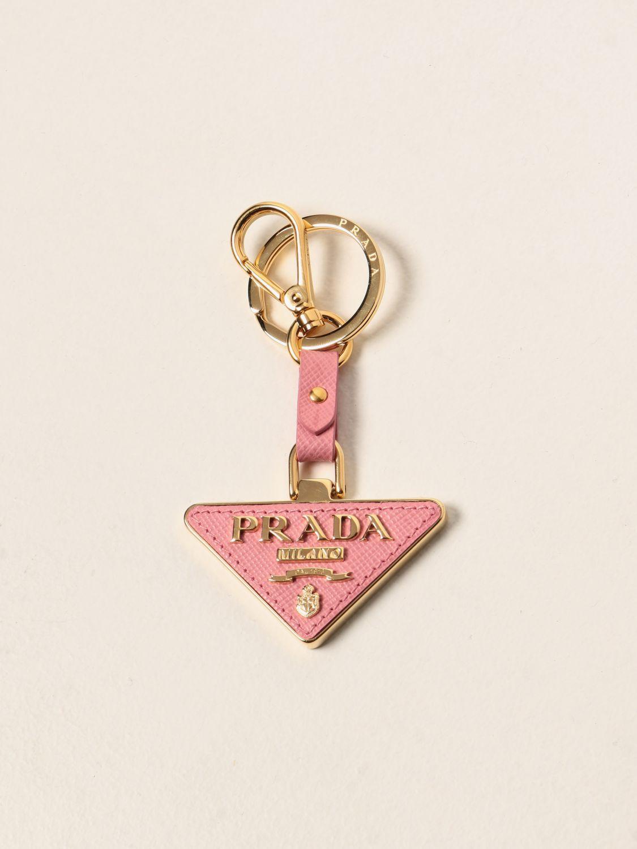 Portachiavi Prada: Portachiavi Prada triangolare in metallo e pelle saffiano rosa 1