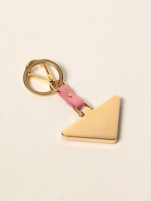 Portachiavi Prada: Portachiavi Prada triangolare in metallo e pelle saffiano rosa 2