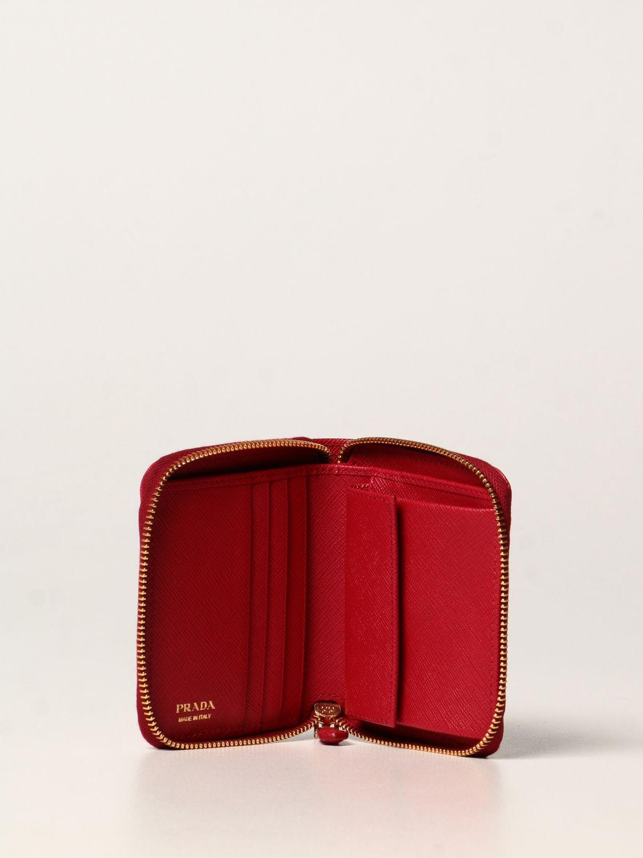 Portafoglio Prada: Portafoglio Prada in pelle saffiano rosso 2