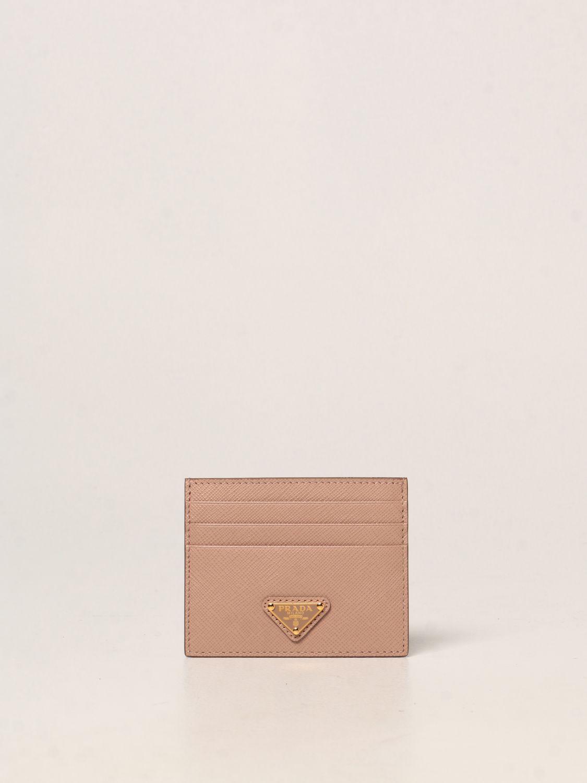 Portafoglio Prada: Porta carte di credito Prada in pelle saffiano cipria 1