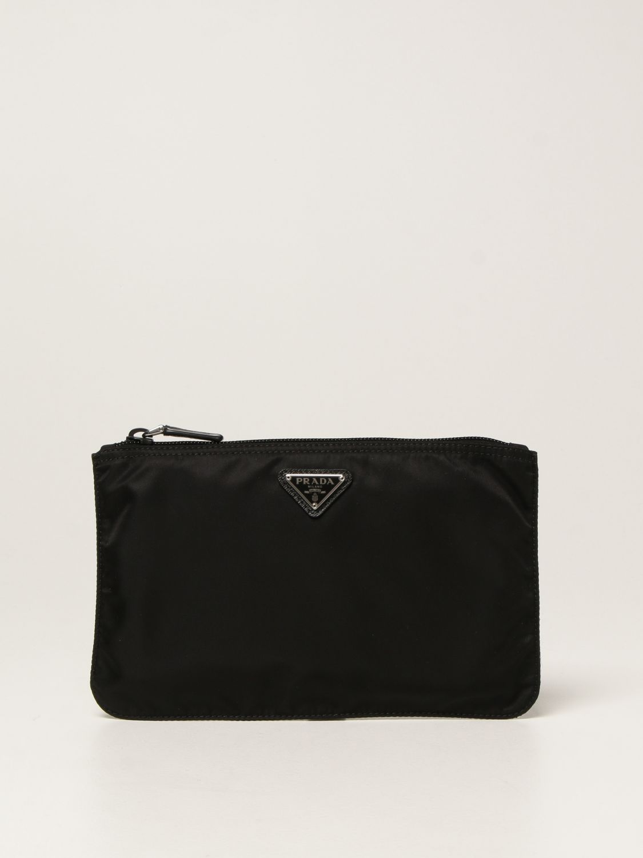 Clutch Prada: Pochette Prada in re-nylon con logo triangolare nero 1