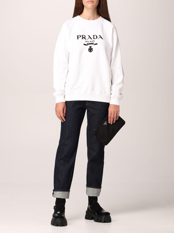 Clutch Prada: Pochette Prada in re-nylon con logo triangolare nero 2