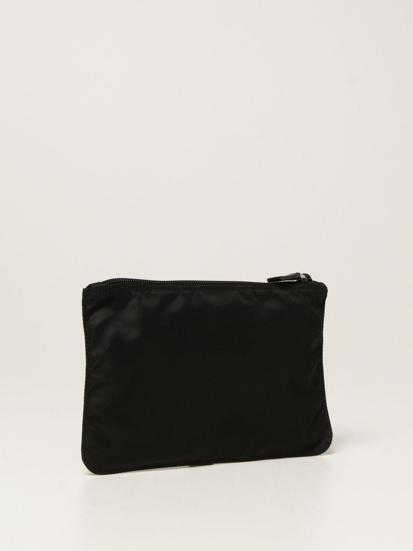 Clutch Prada: Pochette Prada in re-nylon con logo triangolare nero 3