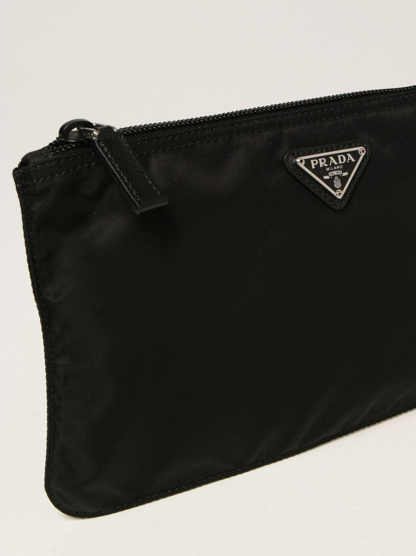 Clutch Prada: Pochette Prada in re-nylon con logo triangolare nero 4